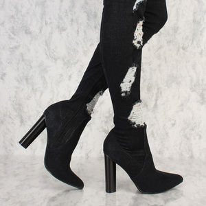 Shoes - Stretch Black Denim Thigh High Over Knee Ripped Je